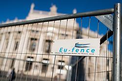 THEMENBILD - Absperrung mit der Aufschrift EU - Fence, Zäune für Europa. Aufgenommen am 14.06.2017 in Wien, Österreich // Barriers with label EU Fence, Fences for Europe. Vienna, Austria on 2017/06/14. EXPA Pictures © 2017, PhotoCredit: EXPA/ Michael Gruber