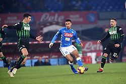 January 13, 2019 - Naples, Naples, Italy - Adam Ounas of SSC Napoli during the Coppa Italia match between SSC Napoli and US Sassuolo at Stadio San Paolo Naples Italy on 13 January 2019. (Credit Image: © Franco Romano/NurPhoto via ZUMA Press)