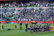 Melbourne Victory stand in honour of the fallen at the Hyundai A-League Round 4 soccer match between Melbourne Victory and Central Coast Mariners at AAMI Park in Melbourne.