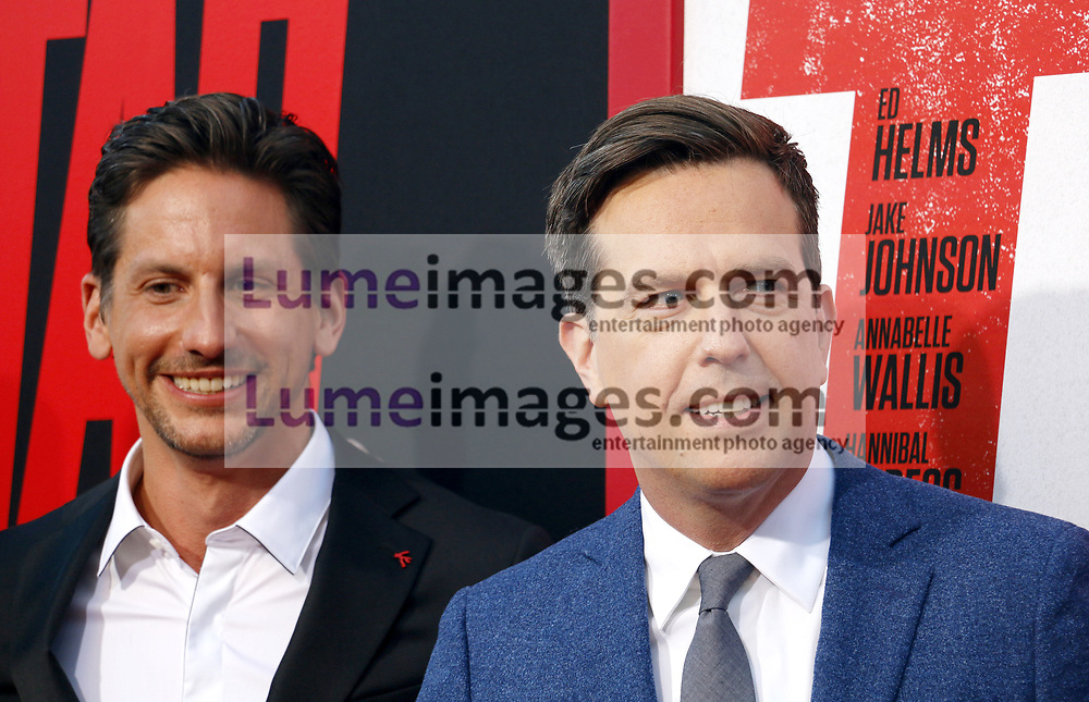 Jeff Tomsic and Ed Helms at the Los Angeles premiere of 'Tag' held at the Regency Village Theatre in Westwood, USA on June 7, 2018.