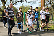 Hull FC supporters arrive for the Betfred Super League match between Hull FC and Hull Kingston Rovers at Kingston Communications Stadium, Hull, United Kingdom on 19 April 2019.