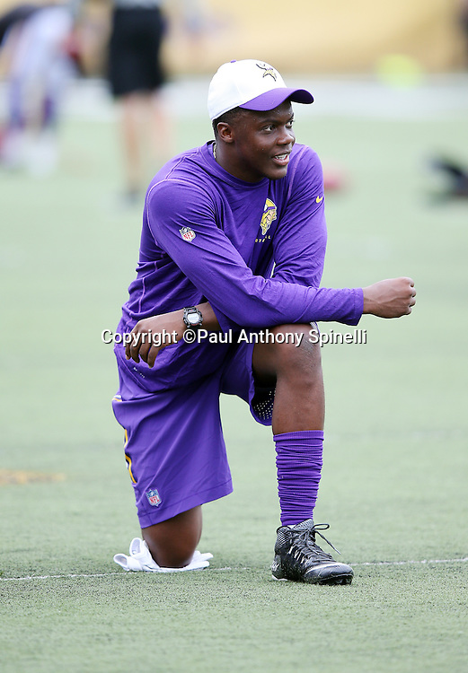 Minnesota Vikings quarterback Teddy Bridgewater (5) looks on from the field before the 2015 NFL Pro Football Hall of Fame preseason football game against the Pittsburgh Steelers on Sunday, Aug. 9, 2015 in Canton, Ohio. The Vikings won the game 14-3. (©Paul Anthony Spinelli)