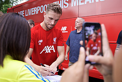BOSTON, MASSACHUSETTS, USA - Monday, July 22, 2019: Liverpool's captain Jordan Henderson with supporters after a training session at Ohiri Field near Harvard Stadium on day seven of the club's pre-season tour of America. (Pic by David Rawcliffe/Propaganda)