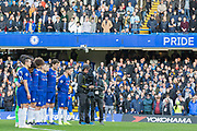 Chelsea FC observing a minute's silence in remembrance of all those who died following the end of World War 1 100 years ago prior to the Premier League match between Chelsea and Everton at Stamford Bridge, London, England on 11 November 2018.