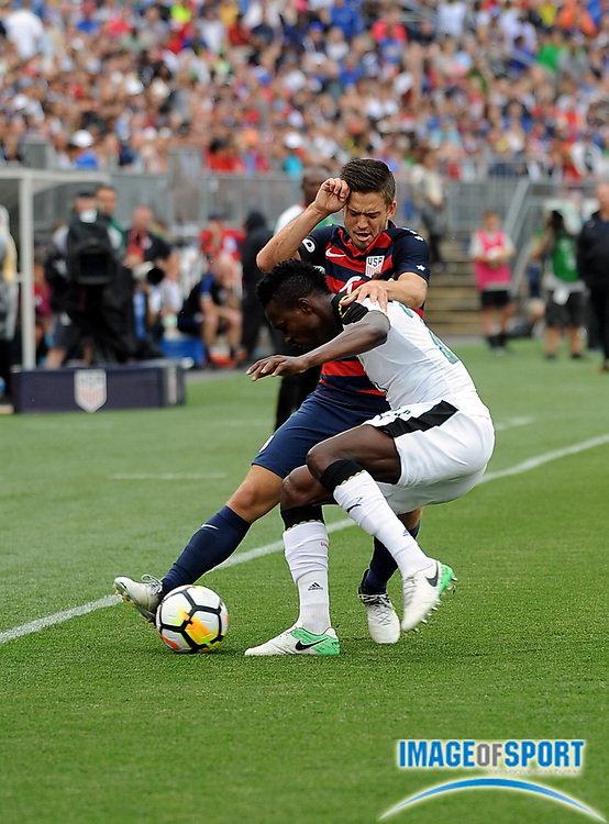 Jul 1, 2017; East Hartford, CT, USA; United States midfielder Kelyn Rowe (6) and Ghana defender John Boye (21) during a friendly match with Ghana in East Hartford, CT at Rentschler Field. USA defeated Ghana 2 to 1. Photo by Reuben Canales
