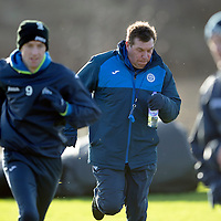 St Johnstone Training…..29.01.16<br />Manager Tommy Wright pictured racing against Steven MacLean during training at McDiarmid Park this morning ahead of tomorrow's League Cup semi-final against Hibs at Tynecastle<br />Picture by Graeme Hart.<br />Copyright Perthshire Picture Agency<br />Tel: 01738 623350  Mobile: 07990 594431