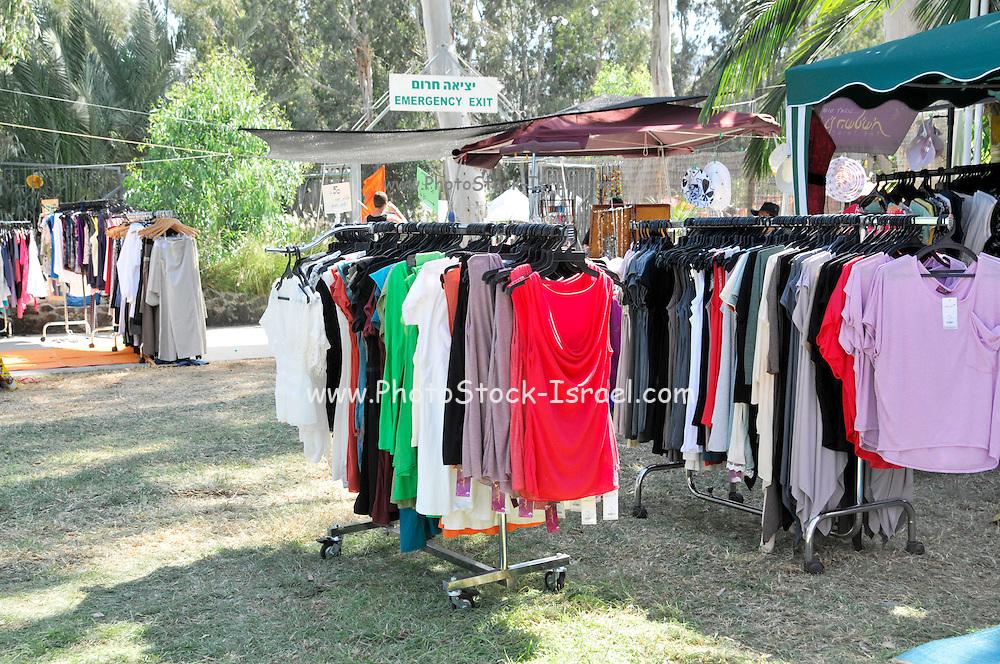 Outdoor clothes market at a fair