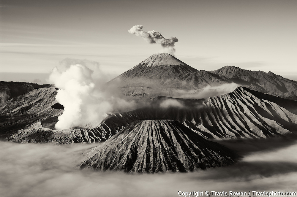 The maginificent view of Bromo and Mt Semeru,  a volcanic landscape in eastern Java, Indonesia.