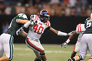 Ole Miss defensive end Kentrell Lockett (40)  at the Louisiana Superdome in New Orleans, La. on Saturday, September 11, 2010. The play was called back because of penalty. Ole Miss won 27-13.