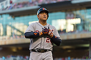 Miguel Cabrera #24 of the Detroit Tigers heads to the dugout during a game against the Minnesota Twins on June 15, 2013 at Target Field in Minneapolis, Minnesota.  The Twins defeated the Tigers 6 to 3.  Photo: Ben Krause