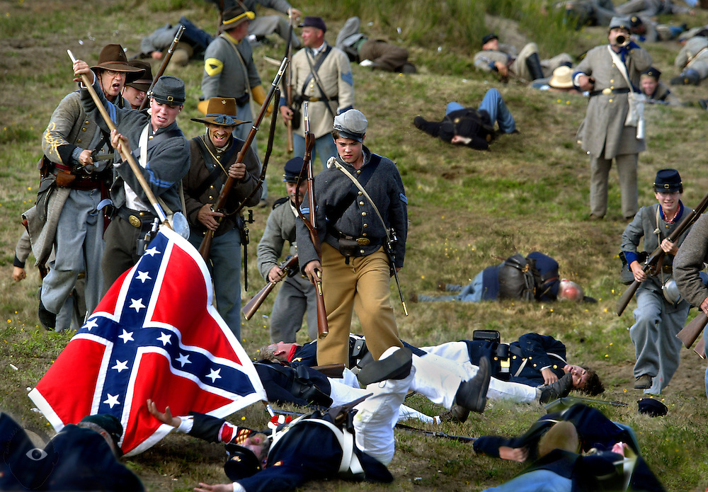 A Civil War reenactment at Ft. Stephens in Astoria, Oregon, is complete with weapons, costumes and the violence of war.