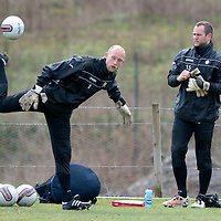 St Johnstone Training....20.04.12<br /> Keepers Alan Mannus (right) and Peter Enckleman at training this morning before tomorrow's game against Dundee Utd<br /> Picture by Graeme Hart.<br /> Copyright Perthshire Picture Agency<br /> Tel: 01738 623350  Mobile: 07990 594431