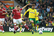 Josh Murphy of Norwich and Josh Brownhill of Bristol City in action during the Sky Bet Championship match at Carrow Road, Norwich<br /> Picture by Paul Chesterton/Focus Images Ltd +44 7904 640267<br /> 23/09/2017
