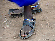 selling shoes from old tires at the Frontier Market, Tanzania, Africa