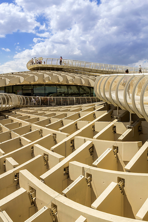 SEVILLE, SPAIN - MAY 2014: Panoramic view in the top of Metropol Parasol in Plaza de la Encarnacion on 31 of May 2014 in Sevilla,Spain. A new Seville Market Hall and attractive destination.