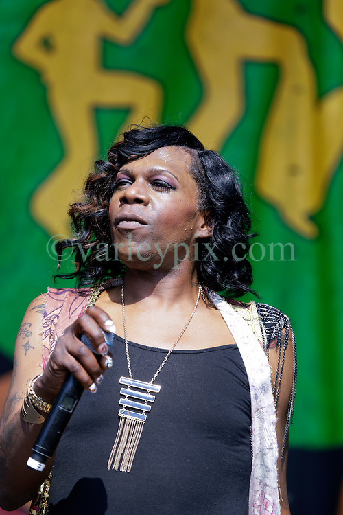 02 May 2015. New Orleans, Louisiana.<br /> The New Orleans Jazz and Heritage Festival. <br /> Big Freddia 'Queen of Bounce' plays the Gentilly Stage.<br /> Photo; Charlie Varley/varleypix.com