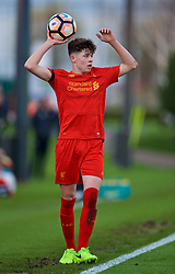 KIRKBY, ENGLAND - Friday, March 31, 2017: Liverpool's Neco Williams takes a throw-in against West Ham United during an Under-18 FA Premier League Merit Group A match at the Kirkby Academy. (Pic by David Rawcliffe/Propaganda)