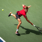 2019 US Open Tennis Tournament- Day Seven.  David Goffin of Belgium  in action against Roger Federer of Switzerland in the Men's Singles round four match on Arthur Ashe Stadium during the 2019 US Open Tennis Tournament at the USTA Billie Jean King National Tennis Center on September 1st, 2019 in Flushing, Queens, New York City.  (Photo by Tim Clayton/Corbis via Getty Images)