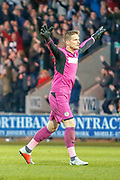 Vaclav Hladky of St Mirren celebrates as his side take the lead and a vital 3 points in their battle to stay in the Scottish top flight during the Ladbrokes Scottish Premiership match between St Mirren and Hamilton Academical FC at the Paisley 2021 Stadium, St Mirren, Scotland on 13 May 2019.