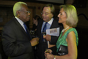 Sir Trevor Macdonald, David Mellor and Lady Penny Cobham,  The Woman in White, Opening night party. Charing Cross Rd. 15 September 2004. SUPPLIED FOR ONE-TIME USE ONLY-DO NOT ARCHIVE. © Copyright Photograph by Dafydd Jones 66 Stockwell Park Rd. London SW9 0DA Tel 020 7733 0108 www.dafjones.com
