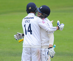 James Adams of Hampshire (right) celebrates scoring his century with James Vince - Mandatory byline: Dougie Allward/JMP - 07966386802 - 11/09/2015 - Cricket - County Ground -Taunton,England - Somerset CCC v Hampshire CCC - LV=County Championship - Day 3