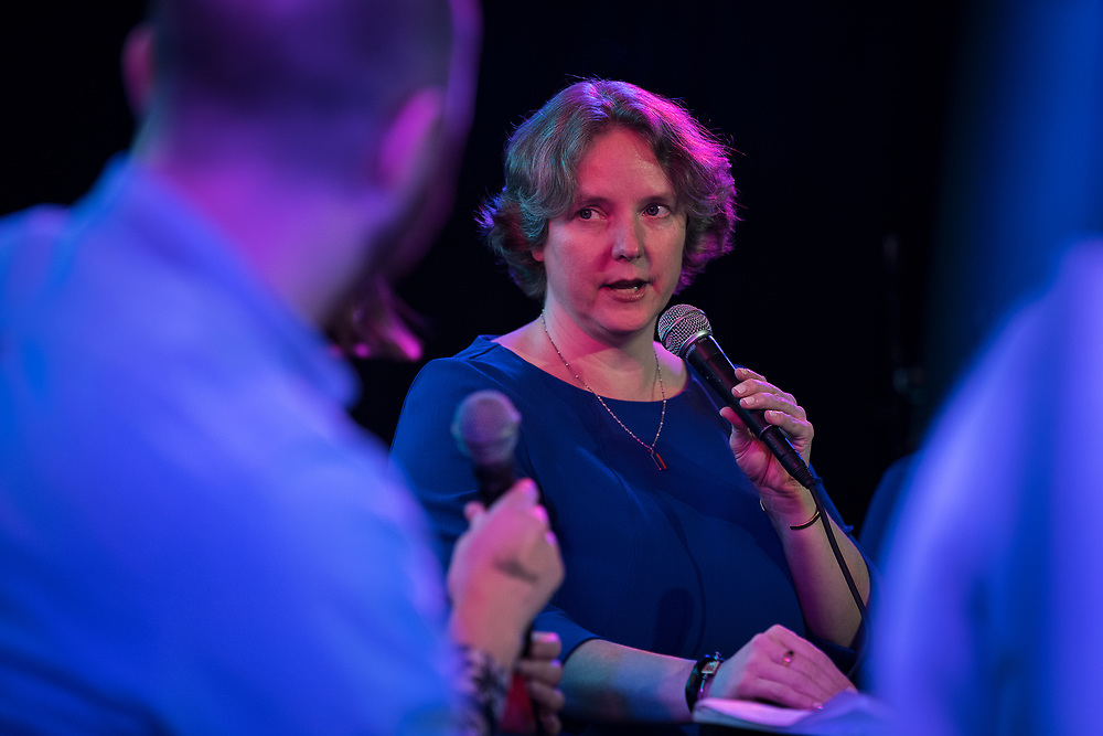 "Mayor-elect Satya Rhodes-Conway speaks during the live taping of the ""Madsplainers"" Podcast at High Noon Saloon in Madison, WI on Tuesday, April 9, 2019."
