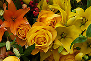 Unique Yellow Orange Roses, Calla Lily Flowers