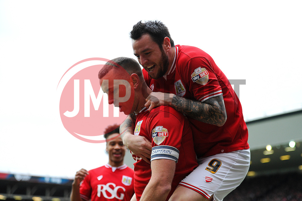 Aaron Wilbraham of Bristol City celebrates his goal with Lee Tomlin of Bristol City - Mandatory byline: Dougie Allward/JMP - 19/03/2016 - FOOTBALL - Ashton Gate - Bristol, England - Bristol City v Bolton Wanderers - Sky Bet Championship