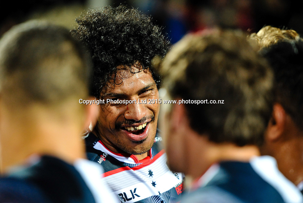 A happy Lopeti Timani of the winning Rebels in the Super Rugby match, Crusaders v Rebels at AMI Stadium, Christchurch, New Zealand 13 February 2015. Photo:John Davidson/www.photosport.co.nz