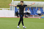 England defender John Stones animated during the training session for England at St George's Park National Football Centre, Burton-Upon-Trent, United Kingdom on 28 May 2019.