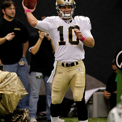 2009 October 04: New Orleans Saints quarterback Chase Daniel (10) throws a pass in warm ups prior to a 24-10 win by the New Orleans Saints over the New York Jets at the Louisiana Superdome in New Orleans, Louisiana.