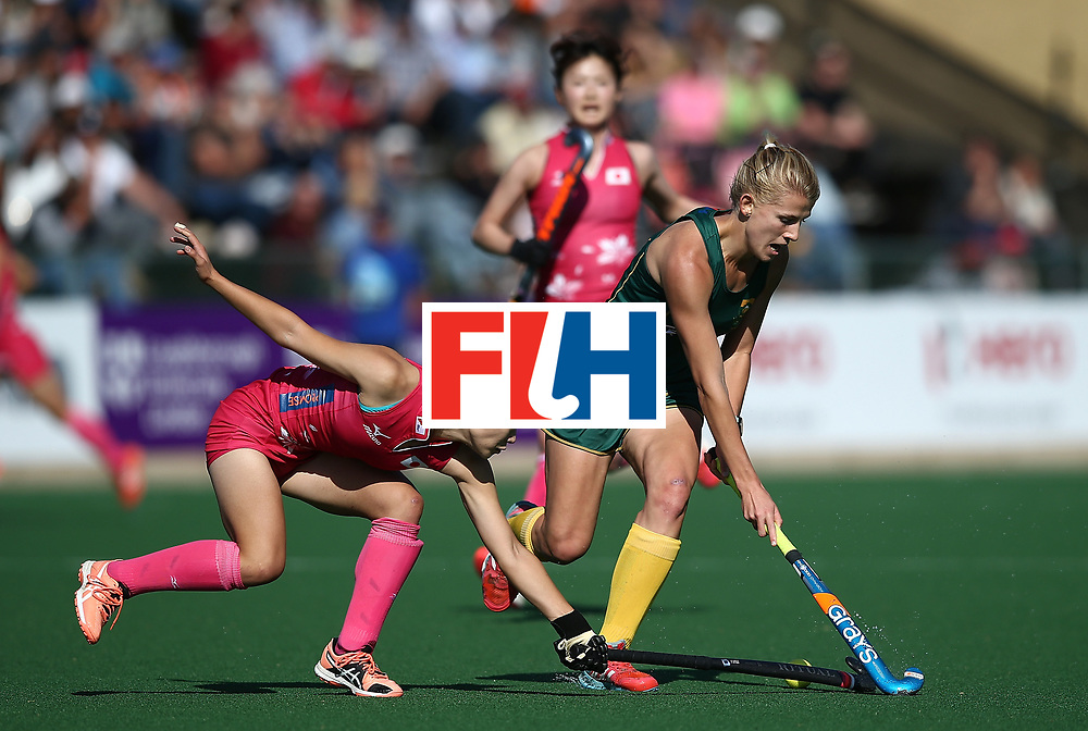 JOHANNESBURG, SOUTH AFRICA - JULY 22:  Tarryn Glasby of South Africa controls the ball from Emi Nishikori of Japan day 8 of the FIH Hockey World League Women's Semi Finals 5th/ 6th place match between Japan and South Africa at Wits University on July 22, 2017 in Johannesburg, South Africa.  (Photo by Jan Kruger/Getty Images for FIH)