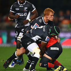 DURBAN, SOUTH AFRICA - JULY 15: Phillip van der Walt and Chiliboy Ralepelle of the Cell C Sharks make a big hit during the Super Rugby match between the Cell C Sharks and Sunwolves at Growthpoint Kings Park on July 15, 2016 in Durban, South Africa. (Photo by Steve Haag/Gallo Images)