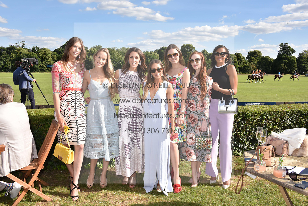 Sabrina Percy, Hum Fleming, Rosanna Falconer, Louise Thompson, Amber Le Bon, Olivia Grant and Amal Fashanu at the Laureus polo Cup at Ham Polo Club, Ham, London, England. 21 June 2018.