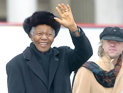 60799662  File photo taken on Feb. 3, 2005, shows former South African President Nelson Mandela waves to audience of his speech on Trafalgar Square in London, Britain. <br /> File Photo- Nelson Mandela Dead: Former South African President Has Died At 95. The former South African president had been suffering from a recurring lung infection on Thursday December 05, 2013.<br /> Picture sent Friday, 6th December 2013. Picture by  imago / i-Images<br /> UK ONLY