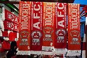 General view outside The Emirates Stadium, Arsenal scarves, before the EFL Cup 4th round match between Arsenal and Blackpool at the Emirates Stadium, London, England on 31 October 2018.
