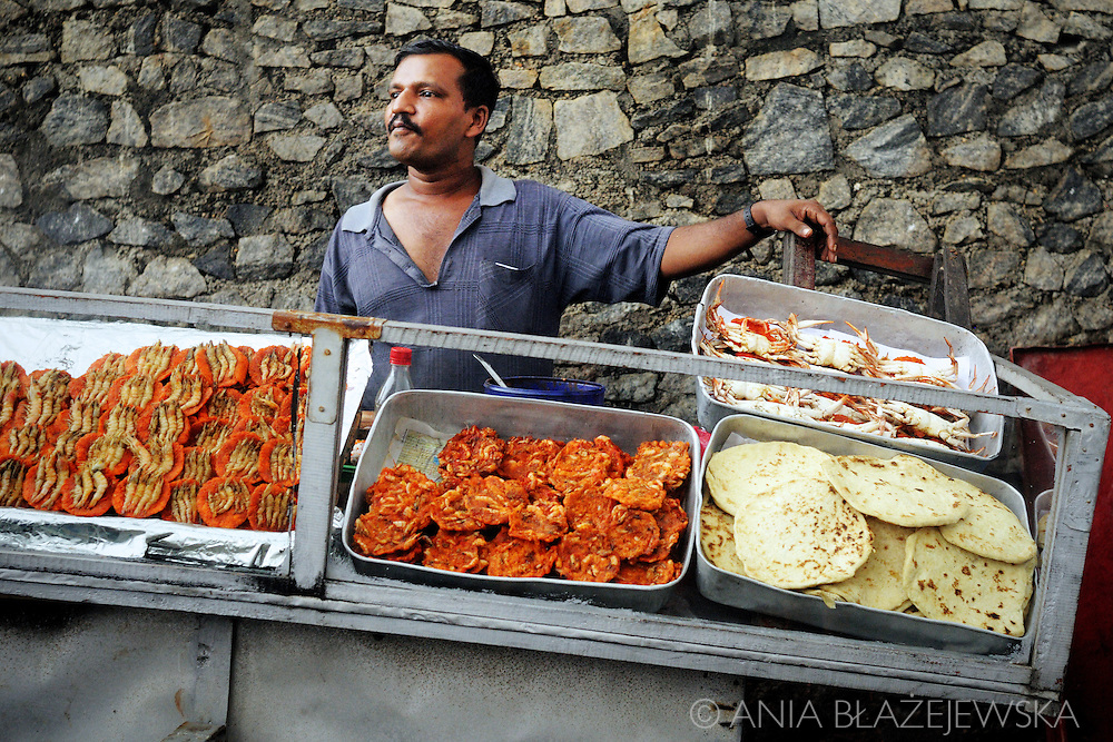 Sri Lanka, colombo. Stall with seafood snack near Galle Face Green.