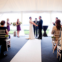 Wedding ceremony alongside Lake Washington in Kirkland.