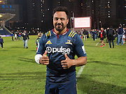 Highlanders player Ash Dixon gives a thumbs up following the teams loss at the Natixis Cup rugby match between French team Racing 92 and New Zealand team Otago Highlanders at Sui San Wan Stadium in Hong Kong