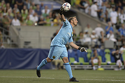 August 27, 2017 - Seattle, Washington, U.S - Soccer 2017: Timbers goalie JEFF ATTINELLA (1) throws a ball down field after a Seattle shot attempt as the Portland Timbers visit the Seattle Sounders for an MLS match at Century Link Field in Seattle, WA. (Credit Image: © Jeff Halstead via ZUMA Wire)