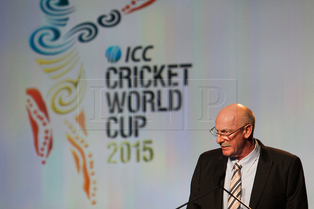 © Licensed to London News Pictures. 30/7/2013. Former Australian cricketer Dennis Lillee speaks during the official launch of the I.C.C Cricket World Cup to be held in Australia and New Zealand in 2015, Melbourne, Australia. Photo credit : Asanka Brendon Ratnayake/LNP