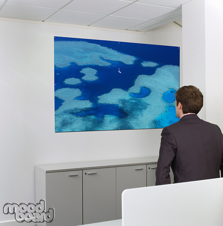 Contemplative mid-adult businessman looking at painting on wall in office