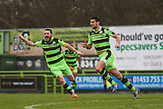 Forest Green Rovers Omar Bugiel(11) celebrates his 2nd and FGR's 4th goal during the Vanarama National League match between Forest Green Rovers and Woking at the New Lawn, Forest Green, United Kingdom on 25 February 2017. Photo by Shane Healey.