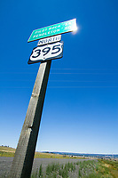 Highway 395 road sign. Eastern Oregon.