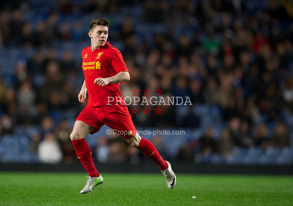 LONDON, ENGLAND - Friday, April 19, 2013: Liverpool's Daniel Trickett-Smith in action against Chelsea during the FA Youth Cup Semi-Final 2nd Leg match at Stamford Bridge. (Pic by David Rawcliffe/Propaganda)