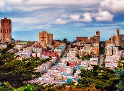 Colorful architectural scene of San Francisco from Telegraph Hill.