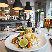 West On The Corner restaurant Woodlands Rd Glasgow. Dish on show is : Bayrischer Wurstsalat, a fish curry with aromatic rice.  Picture Robert Perry for The Herald and Evening Times 17th June 2015<br /> <br /> Must credit photo to Robert Perry<br /> FEE PAYABLE FOR REPRO USE<br /> FEE PAYABLE FOR ALL INTERNET USE<br /> www.robertperry.co.uk<br /> NB -This image is not to be distributed without the prior consent of the copyright holder.<br /> in using this image you agree to abide by terms and conditions as stated in this caption.<br /> All monies payable to Robert Perry<br /> <br /> (PLEASE DO NOT REMOVE THIS CAPTION)<br /> This image is intended for Editorial use (e.g. news). Any commercial or promotional use requires additional clearance. <br /> Copyright 2014 All rights protected.<br /> first use only<br /> contact details<br /> Robert Perry     <br /> 07702 631 477<br /> robertperryphotos@gmail.com<br /> no internet usage without prior consent.         <br /> Robert Perry reserves the right to pursue unauthorised use of this image . If you violate my intellectual property you may be liable for  damages, loss of income, and profits you derive from the use of this image.