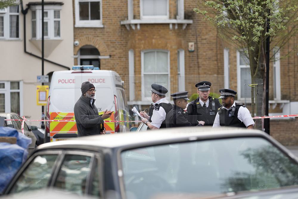 © Licensed to London News Pictures. 17/04/2018. London, UK. The crime scene cordon at Chestnut Avenue in Forest Gate, east London where a teenager was fatally stabbed last night. Police were called to the stabbing in Chestnut Avenue at around 22:50 on Monday 16th April and attended along with London Ambulance Services and paramedics from London's Air Ambulance. The victim, believed to be an 18 year old man was pronounced dead at the scene. This is the 60th killing of the year so far in London.. Photo credit: Vickie Flores/LNP