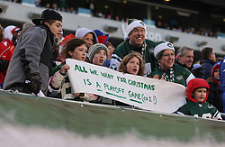 Dec 24, 2011; East Rutherford, NJ, USA; Fans of the New York Jets let the team know what they want for the holidays during the first half at MetLife Stadium.
