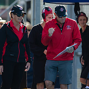 11 February 2018: The San Diego State  women's water polo team competes in day two of the Triton Invitation on the campus of UCSD. San Diego State assistant coach Bill Cohn celebrates after the Aztecs beat #23 CSUN Matadors Sunday morning 8-5.<br /> More game action at www.sdsuaztecphotos.com